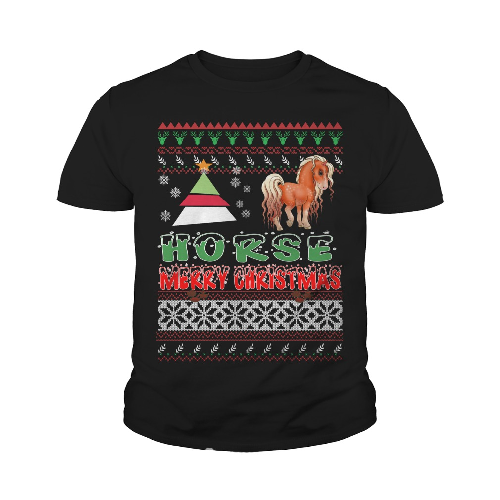 Horse ugly christmas youth tee