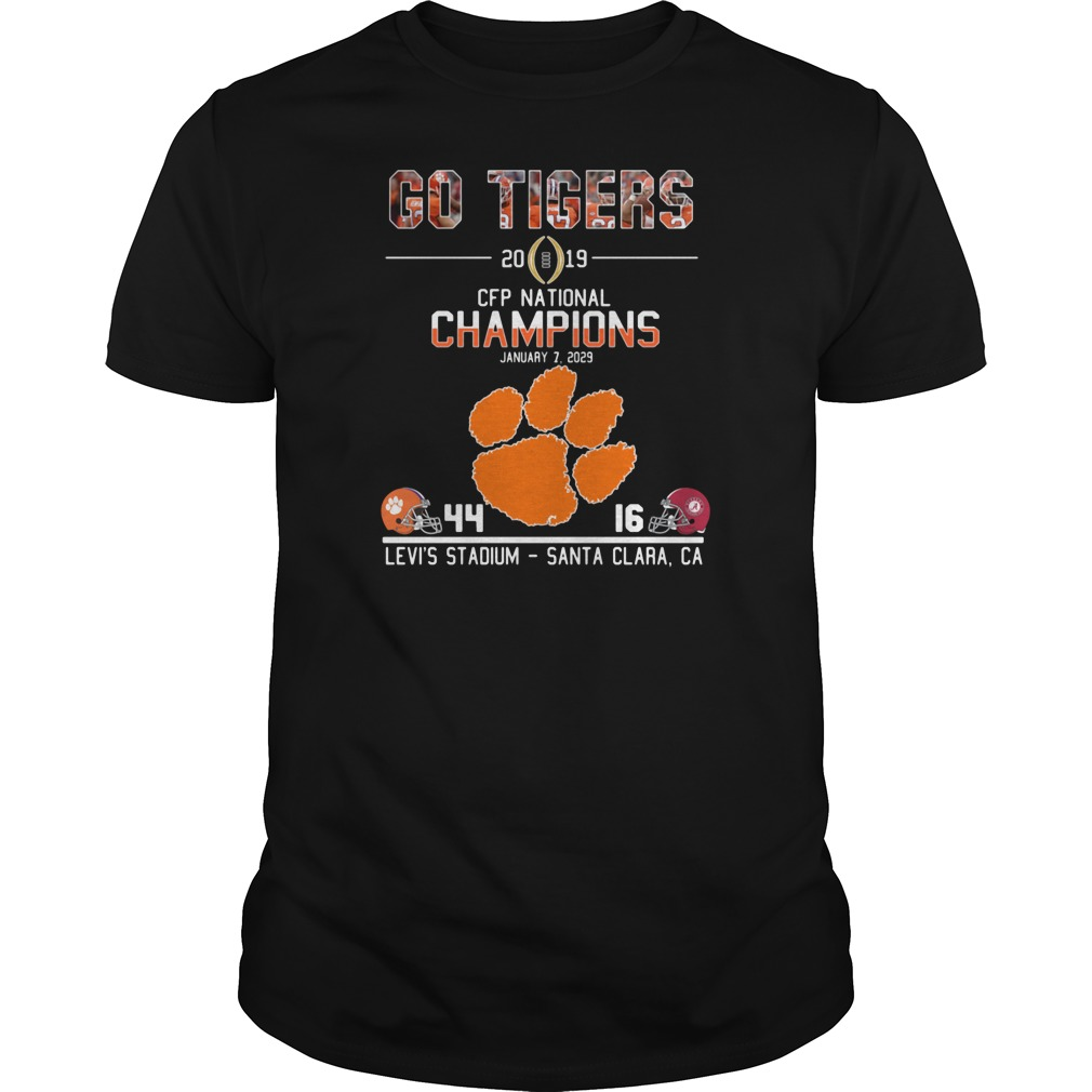 Go tigers 2019 CFP national champions January 7 2029 44 16 Levi's stadium santa clara CA shirt tank top