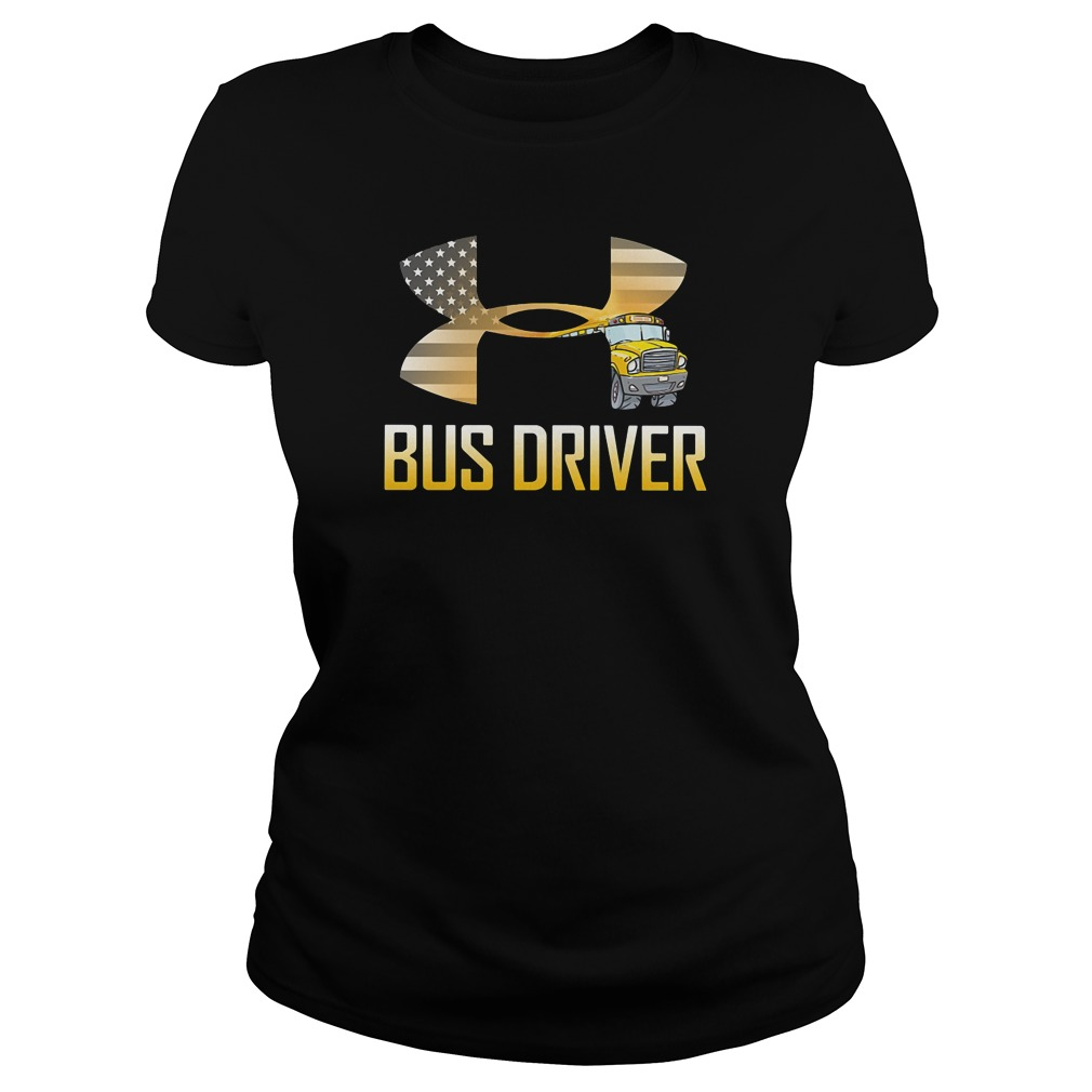 American flag under armour bus driver ladies tee