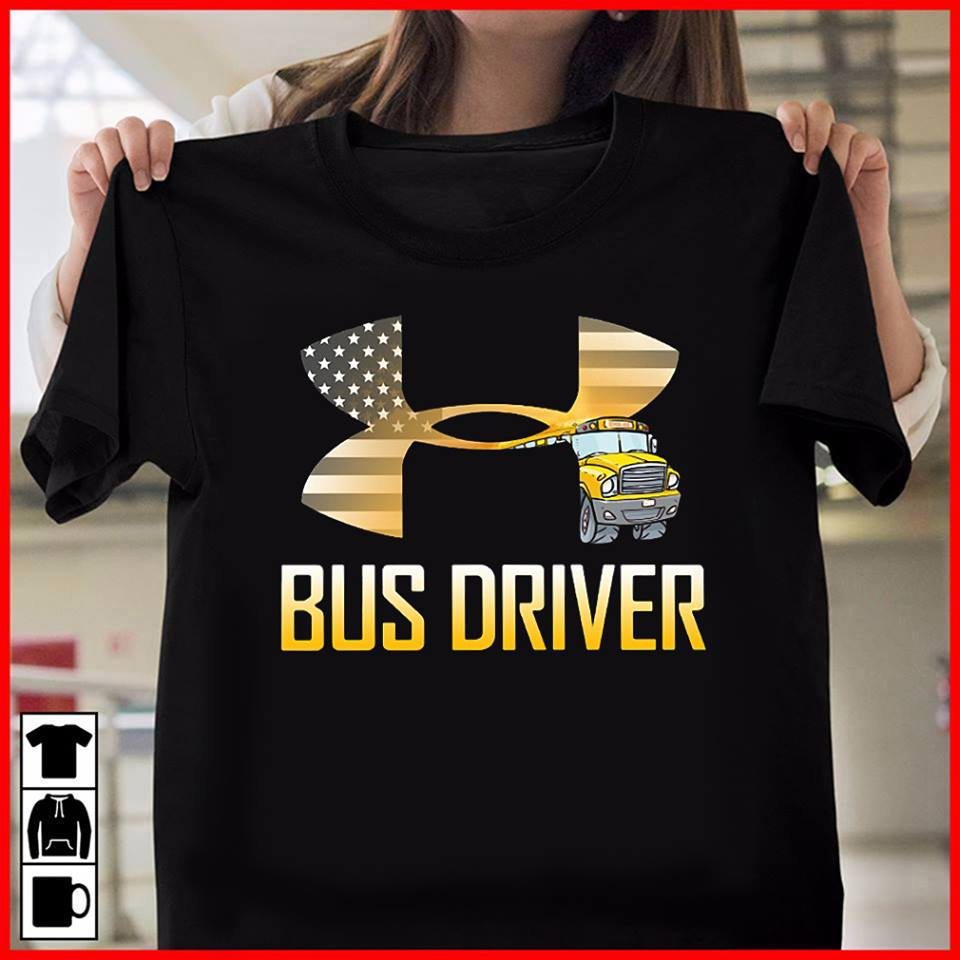 American flag under armour bus driver shirt