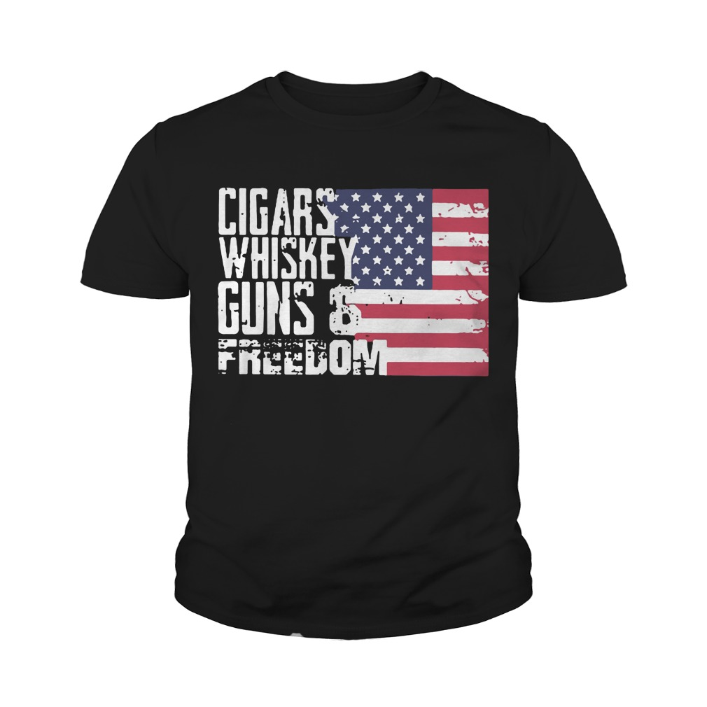 Cigars whiskey guns and freedom youth tee