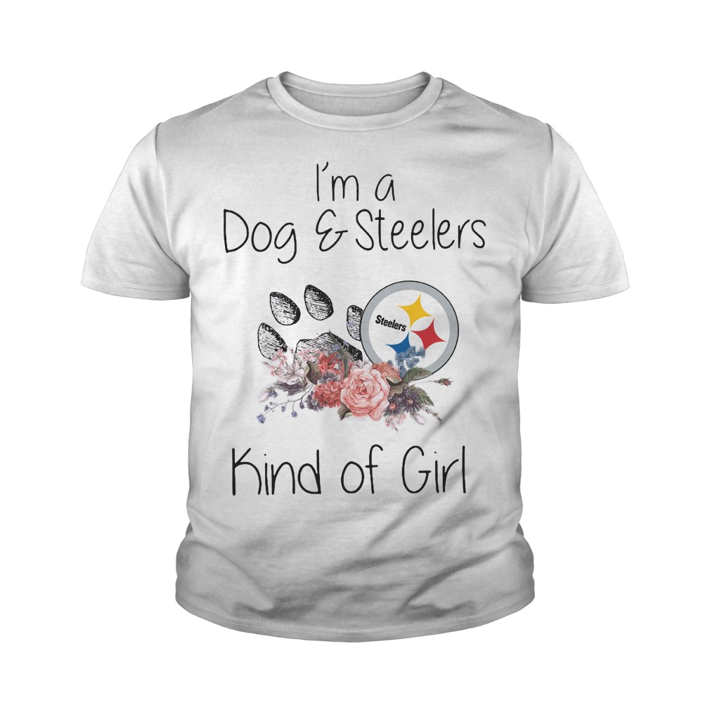 I'm a dog and steelers kind of girl youth tee