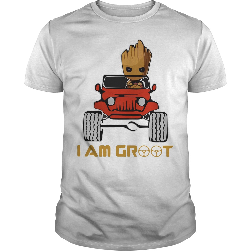 Jeep car and Groot I am Groot shirt