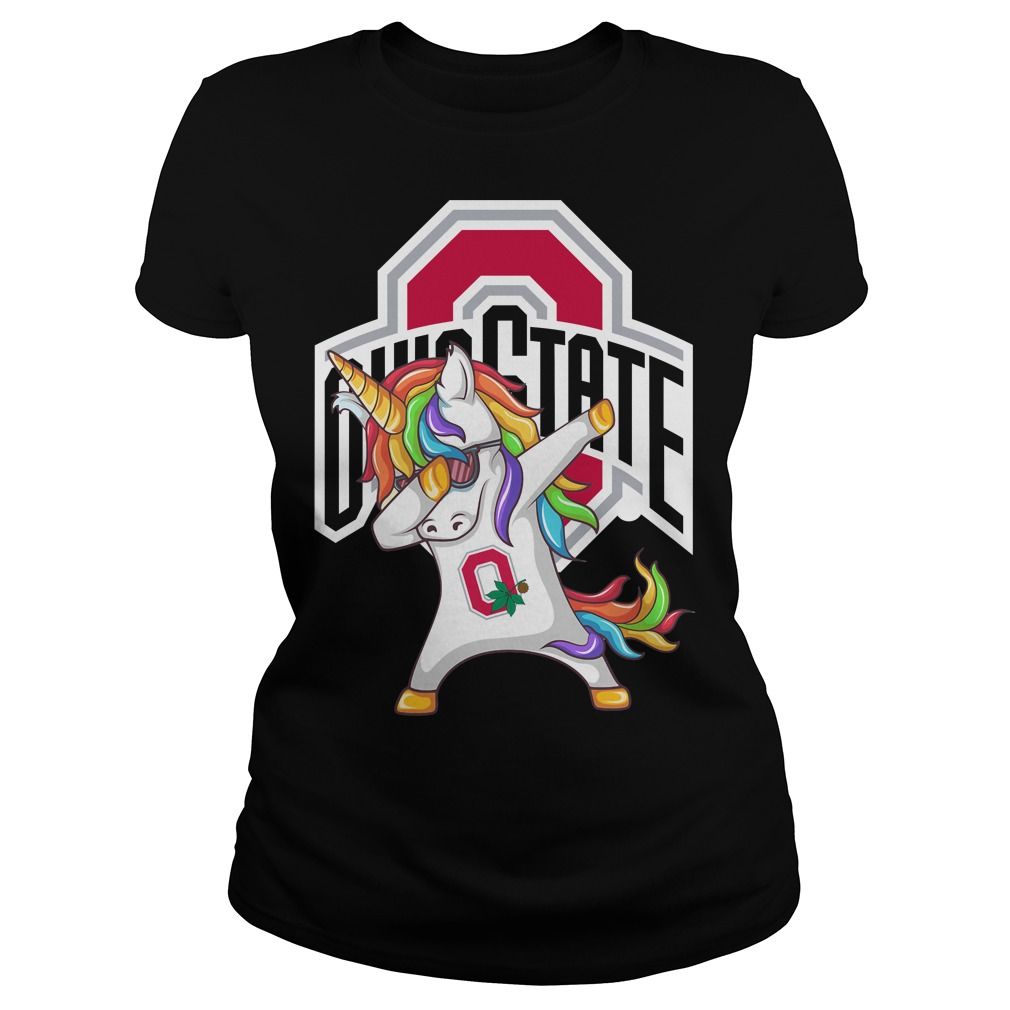 Unicorn Dabbing Ohio State Block O ladies tee